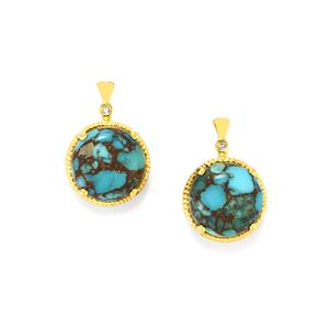 Egyptian Turquoise Earrings with Diamond in Gold Plated Sterling Silver 10.25cts