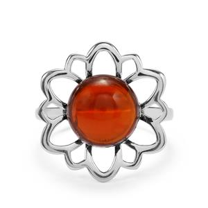 3.11ct American Fire Opal Sterling Silver Ring