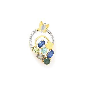 Harlequin Pendant with Diamond in 10k Gold 3.78cts