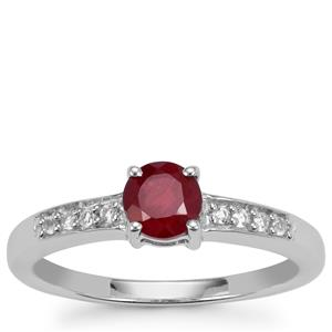 Malagasy Ruby Ring with White Topaz in Sterling Silver 0.87cts (F)