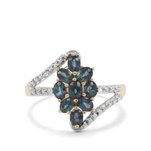 Nigerian Blue Sapphire & White Zircon 9K Gold Ring ATGW 1.35cts