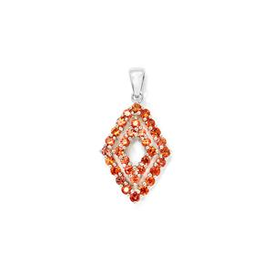 2.01cts Songea Sunset Sapphire Sterling Silver Pendant