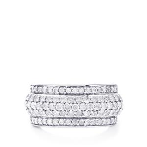1.45ct Diamond Sterling Silver Ring