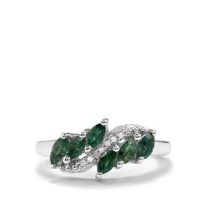 Luhlaza Emerald & Diamond Sterling Silver Ring ATGW 0.69cts