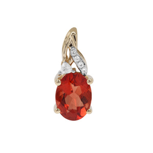 Red Labradorite Pendant with White Zircon in 9K Gold 1.03cts