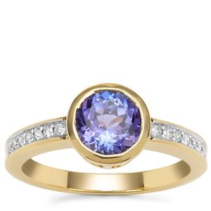 AAA Tanzanite Ring with Diamond in 18K Gold 1.35cts