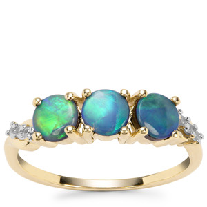 Crystal Opal on Ironstone Ring with White Zircon in 9K Gold