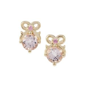 Nigerian Morganite Earrings with Pink Sapphire in 9K Gold 0.94ct