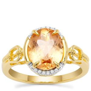 Imperial Garnet Ring with White Zircon in Gold Plated Sterling Silver 3.08cts
