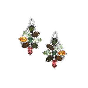 4.20ct Tutti-Frutti Tourmaline Sterling Silver Earrings