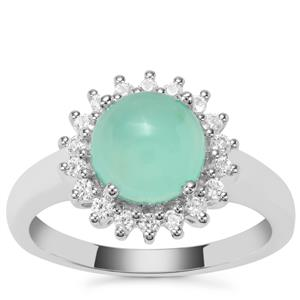 Prase Green Opal Ring with White Zircon in Sterling Silver 2.17cts