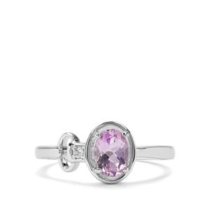 Moroccan Amethyst & White Zircon Sterling Silver Ring ATGW 0.73cts