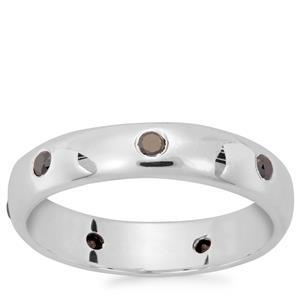 Black Diamond Ring in Sterling Silver 0.21ct
