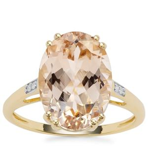 Champagne Danburite Ring with Diamond in 9K Gold 5.62cts