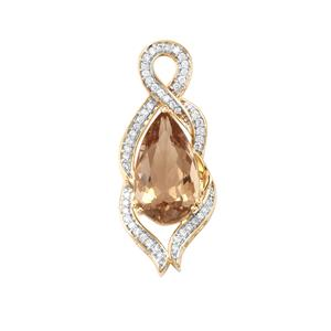 Scapolite Pendant with Diamond in 18K Gold 4.96cts