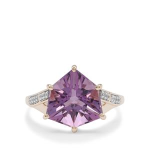 Alpine Cut Bahia Amethyst Ring with White Zircon in 9K Gold 4.35cts