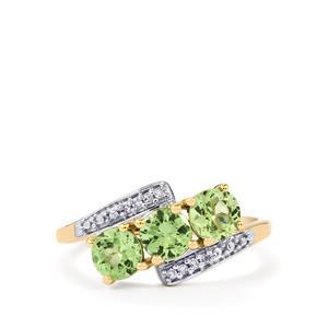 Merelani Mint Garnet & Diamond 10K Gold Ring ATGW 1.41cts