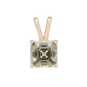 2.20ct Asscher Cut Csarite® 9K Gold Pendant