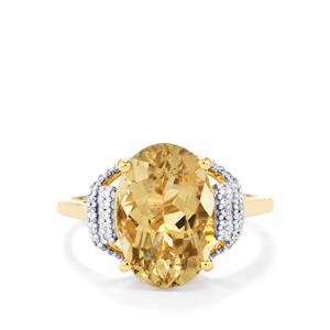 Scapolite Ring with Diamond in 18K Gold 4.60cts