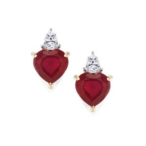 Malagasy Ruby Earrings with White Zircon in 10k Gold 7.56cts