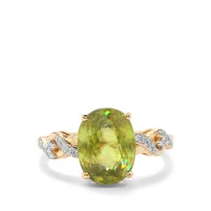 Ambilobe Sphene Ring with Diamond in 18K Gold 4.69cts