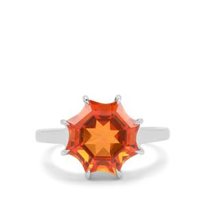 Mirror of Paradise Cut Padparadscha Quartz Ring in Sterling Silver 4.80cts