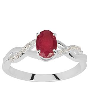 Luc Yen Ruby Ring with White Zircon in Sterling Silver 1.30cts