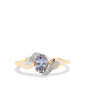 Bi Colour Tanzanite & Diamond 10K Gold Ring ATGW 0.84cts