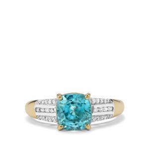 Ratanakiri Blue Zircon Ring with Diamond in 18k Gold 3.90cts