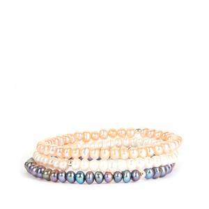 Kaori Cultured Pearl Set of 3 Elasticated Bracelets in Sterling Silver