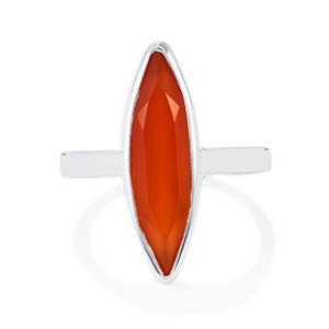 Orange Onyx Ring in Sterling Silver 3.88cts