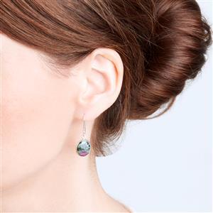 Ruby-Zoisite Earrings in Sterling Silver 12.05cts
