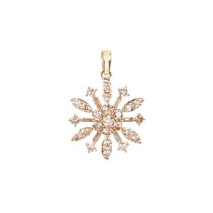 Champagne Diamond Pendant in 9K Gold 1cts