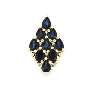 Australian Blue Sapphire Pendant with Diamond in 10k Gold 1.25cts