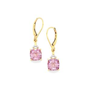 Lehrer QuasarCut Rose De France Amethyst & Diamond 10K Gold Earrings ATGW 3.37cts