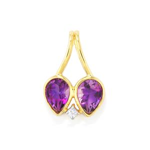 Moroccan Amethyst Pendant with White Zircon in 10k Gold 1.25cts