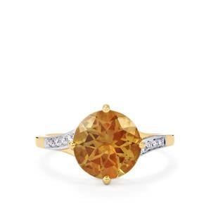 Oregon Sunstone Ring with Diamond in 14K Gold 3cts
