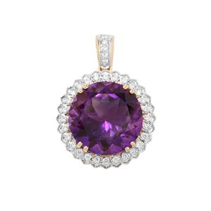 Moroccan Amethyst Pendant with Diamond in 18K Gold 7.37cts