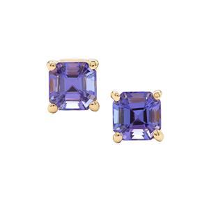 Asscher Cut AAA Tanzanite Earrings in 18K Gold 1.50cts