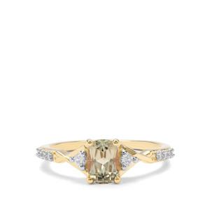 Csarite® & White Zircon 9K Gold Ring ATGW 1.25cts