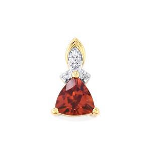 Zanzibar Zircon & Diamond 10K Gold Pendant ATGW 1.19cts
