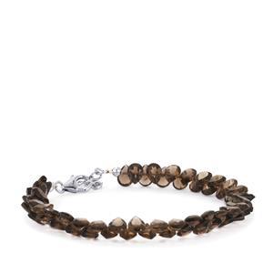 36ct Smokey Quartz Sterling Silver Bead Bracelet