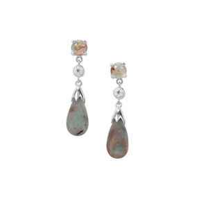 Aquaprase™, Champagne & White Diamond Sterling Silver Earrings ATGW 14.56cts