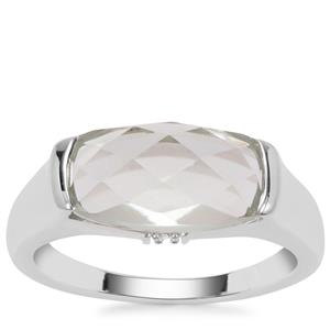 Green Amethyst Ring with White Zircon in Sterling Silver 3.32cts