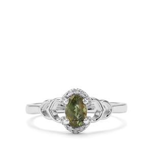 Mandrare Apatite & Diamond Sterling Silver Ring ATGW 0.54cts