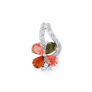 Rainbow Tourmaline Pendant with White Topaz in Sterling Silver 2.37cts