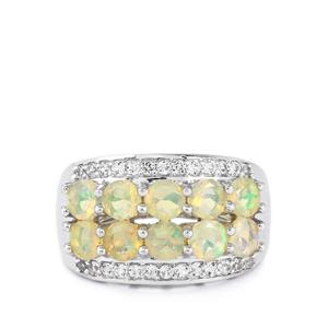 Ethiopian Opal & White Topaz Sterling Silver Ring ATGW 2.04cts