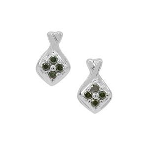 Green Diamond Earrings  in Sterling Silver 0.07ct