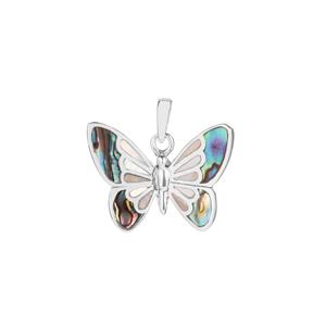 Paua Butterfly Pendant with Mother of Pearl in Sterling Silver