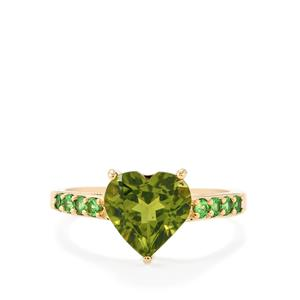 Changbai Peridot Ring with Chrome Tourmaline in 10k Gold 2.98cts